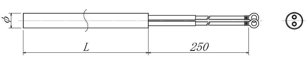 ハイワットストレート型カートリッジヒーターの図面
