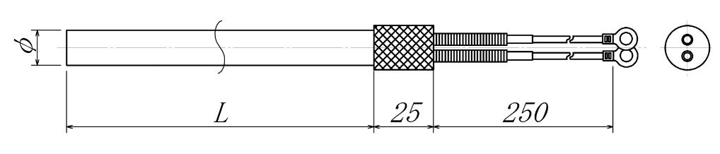 高性能ローレット型カートリッジヒーターの図面