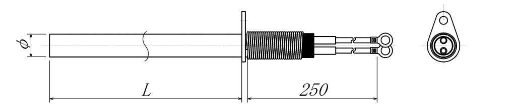 片フランジ・スプリング型カートリッジヒーターの図面