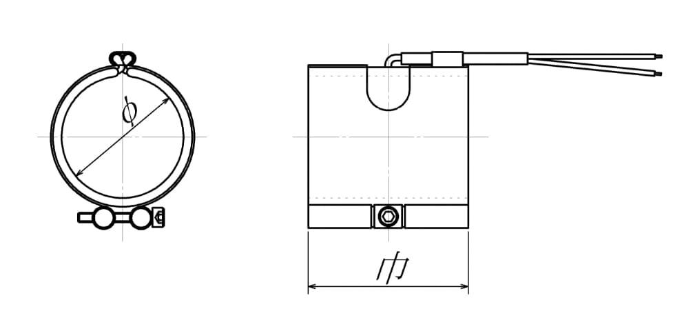 バンドヒーター|ノズルタイプの図面