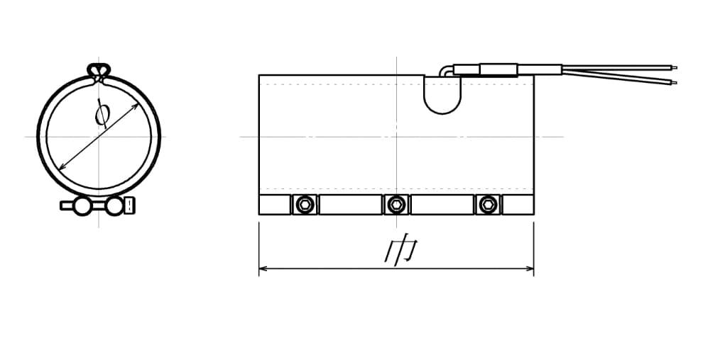 バンドヒーター|ロングノズルタイプの図面