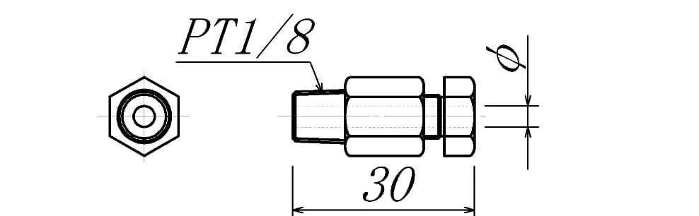 コンプレッションフィッティング(挿入長可変式)の図面