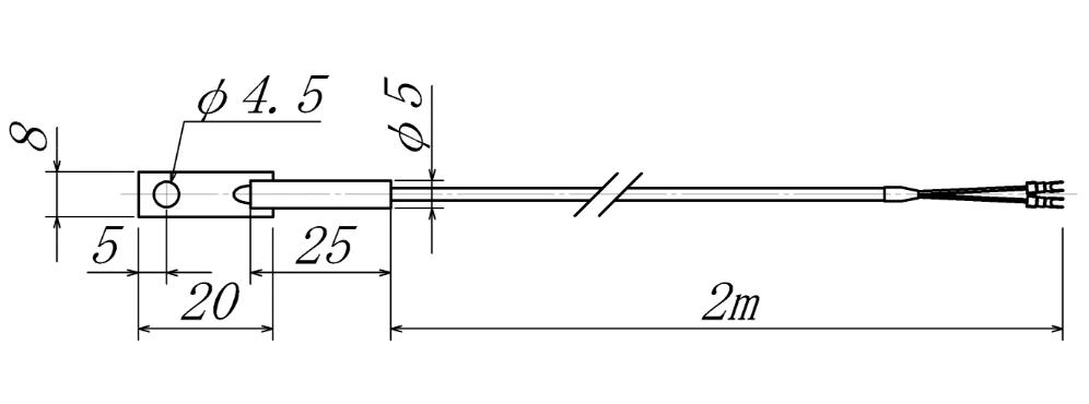 真鍮板付熱電対の図面