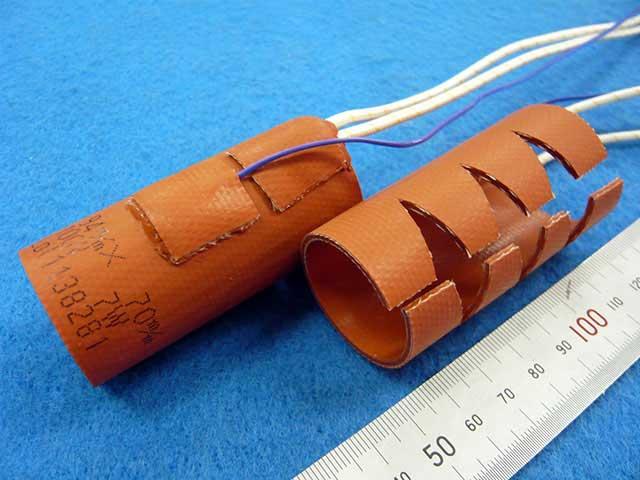 R加工付きシリコンラバーヒーターによるシリンジ加熱